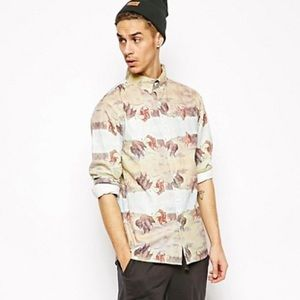 Afends Bison With All Over Print Button Down Shirt